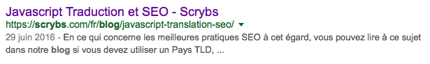 Google Result in French